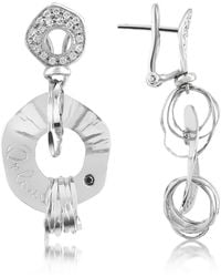 Orlando Orlandini - Fashion - Diamond 18k White Gold Drop Earrings - Lyst