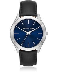Michael Kors - Slim Runway Silver Tone And Black Leather Men's Watch - Lyst