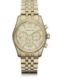 Michael Kors - Mid-size Channing Golden Stainless Steel Three-hand Watch - Lyst