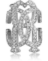 Roberto Cavalli - Rc Icon Silvertone Ring W/crystals - Lyst