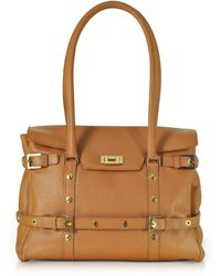 Fontanelli - Camel Buckled Calf Leather Satchel Bag - Lyst