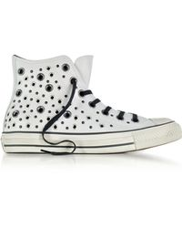 Converse | Chuck Taylor All Star High Distressed Pale Putty Leather Trainers W/eyelets | Lyst