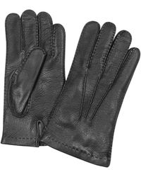 FORZIERI - Men's Cashmere Lined Black Italian Deer Leather Gloves - Lyst