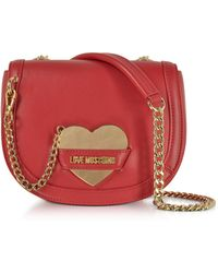 Love Moschino - Detachable Heart Red Eco-leather Crossbody Bag - Lyst