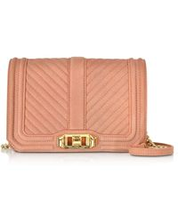 Rebecca Minkoff - Small Dusty Peach Quilted Leather Love Crossbody Bag - Lyst