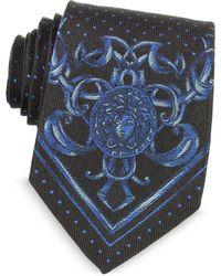 Versace - Micro Polka Dots Narrow Ties W/medusa Print - Lyst