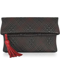 Fontanelli - Black Quilted Leather Clutch - Lyst