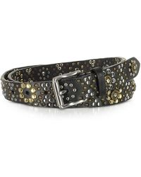 FORZIERI - Black Studded Leather Belt - Lyst