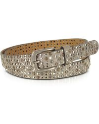 FORZIERI - Taupe Studded Leather Belt - Lyst
