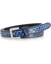 FORZIERI - Blue Python Leather Skinny Women's Belt - Lyst