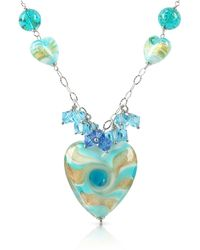 House of Murano - Vortice - Turquoise Murano Glass Swirling Heart Sterling Silver Necklace - Lyst