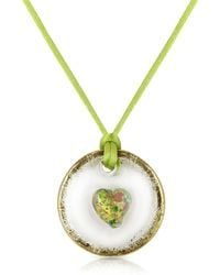 House of Murano - Round Murano Glass Pendant W/green Lace - Lyst
