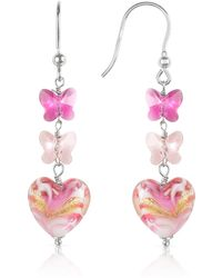 House of Murano - Mare - Pink Murano Glass Heart Drop Earrings - Lyst