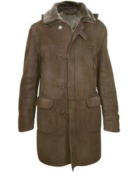 FORZIERI - Detachable Hood Men's Dark Brown Shearling Coat - Lyst