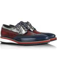 FORZIERI - Red White And Blue Leather Wingtip Derby Shoes - Lyst