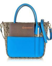 Gherardini - Julieta Small Millerighe Fabric And Eco Leather Top Zip Tote Bag - Lyst
