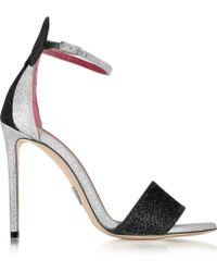 Oscar Tiye - Minnie Platinum Glitter Leather High Heel Sandals - Lyst