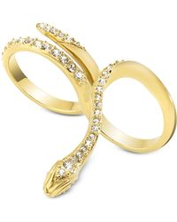 Just Cavalli - Just Medusa Two Fingers Golden Steel Ring W/crystals - Lyst