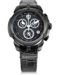 Tonino Lamborghini - Shield Lady Black Stainless Steel And Black Croco Print Leather Chronograph Watch - Lyst
