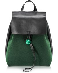 Corto Moltedo - Rose Green Felt And Black Leather Backpack - Lyst
