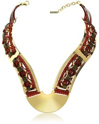 Pluma - Brass Woven Leather Necklace In Gold, Burgundy And Brown - Lyst