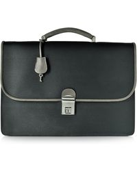 Pineider - City Chic Gray And Black Fabric & Leather Briefcase - Lyst