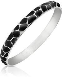 Just Cavalli Black Giraffe Patterned Stainless Steel Bangle Bracelet