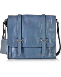 The Bridge - Light Blue Leather Messenger Bag - Lyst