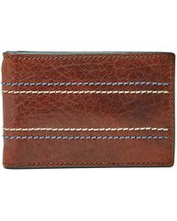 Fossil - Reese Rfid Money Clip Bifold Wallet Brown - Lyst