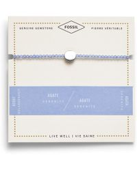 Fossil - Blue Agate Disc Bracelet Jewelry Silver - Lyst