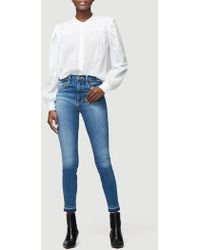 f05e99fe4c5 FRAME Ruffle Long Sleeve Silk Blouse in White - Lyst