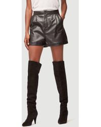 FRAME - Pleated Leather Culotte Short - Lyst