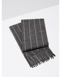 Frank And Oak - Wool-blend Pinstripe Scarf In Charcoal - Lyst