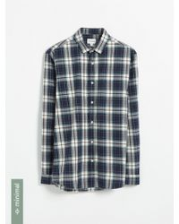 Frank And Oak - Recycled Polyester Blend Tartan Shirt - Navy And White - Lyst