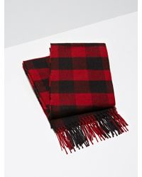 Frank And Oak - Wool-blend Buffalo Check Scarf In Red - Lyst