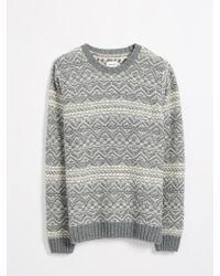 Frank And Oak - Reverse Jacquard Fair Isle Sweater - Grey - Lyst