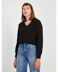 Frank And Oak - Off-shoulder Cotton V-neck Sweater In Black - Lyst