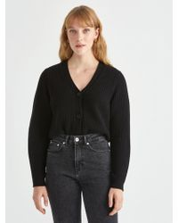 Frank And Oak - Cropped Bell Sleeve Cardigan In Black - Lyst