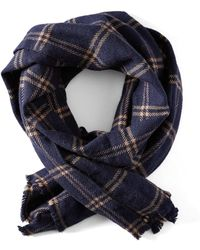 Frank And Oak - Windowpane Wool Scarf In Navy - Lyst