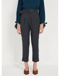 Frank And Oak - Belted Plaid Wide Pants - Navy - Lyst