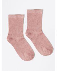 Frank + Oak - Ankle Lurex Socks In Rose Gold - Lyst
