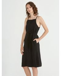 Frank And Oak - Crepe Button Down Dress In True Black - Lyst