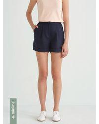 Frank And Oak - Front Pleated Linen Blend Short In Navy Blazer - Lyst