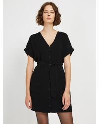 Frank And Oak - Front Button V-neck Dress - Lyst