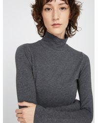 Frank And Oak - Cotton-modal Mockneck Sweater - Carbon Heather - Lyst