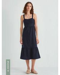 Frank And Oak - Button Down Ruffle Dress In Navy Dress - Lyst