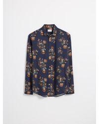 Frank And Oak - Supersoft Cotton-blend Floral Shirt In Dark Blue - Lyst