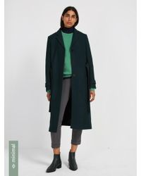 Frank And Oak - Recycled Wool-blend Belted Coat - Dark Green - Lyst