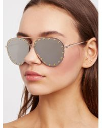 Free People - Star Struck Studded Aviator Sunglasses - Lyst