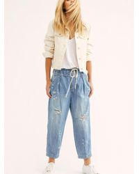 Free People - Mixed Up Utility Jeans - Lyst